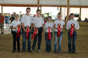 The 4-H and FFA portion of the Huron Community Fair wrapped up Saturday afternoon with the Junior Livestock Association Sweepstakes contest. Dalaney Bates, 13, of Sebewaing (hog showperson) defeated Lillian Lentz (horse showperson), Seth Schumacher (sheep showperson), Nolan Murray (prospect steer showperson), Grace Shupe (fat steer showperson) and Tyler Krug, (dairy showperson).