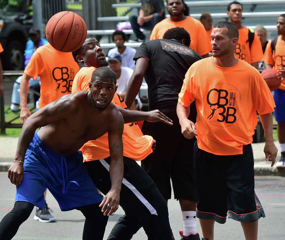 (Peter Hvizdak / Hearst Connecticut Media) New Haven, Connecticut: August 5, 2017.  The Connecticut Big Three Ball Out 3-on-3 basketball tournament with teams from New Haven, Hartford, Bridgeport and Waterbury Saturday, with 16 basketball courts on a blocked off Church Street in front of New Haven City Hall. The tournament is organized and run by the City of New Haven. Photo: Peter Hvizdak, Hearst Connecticut Media / New Haven Register