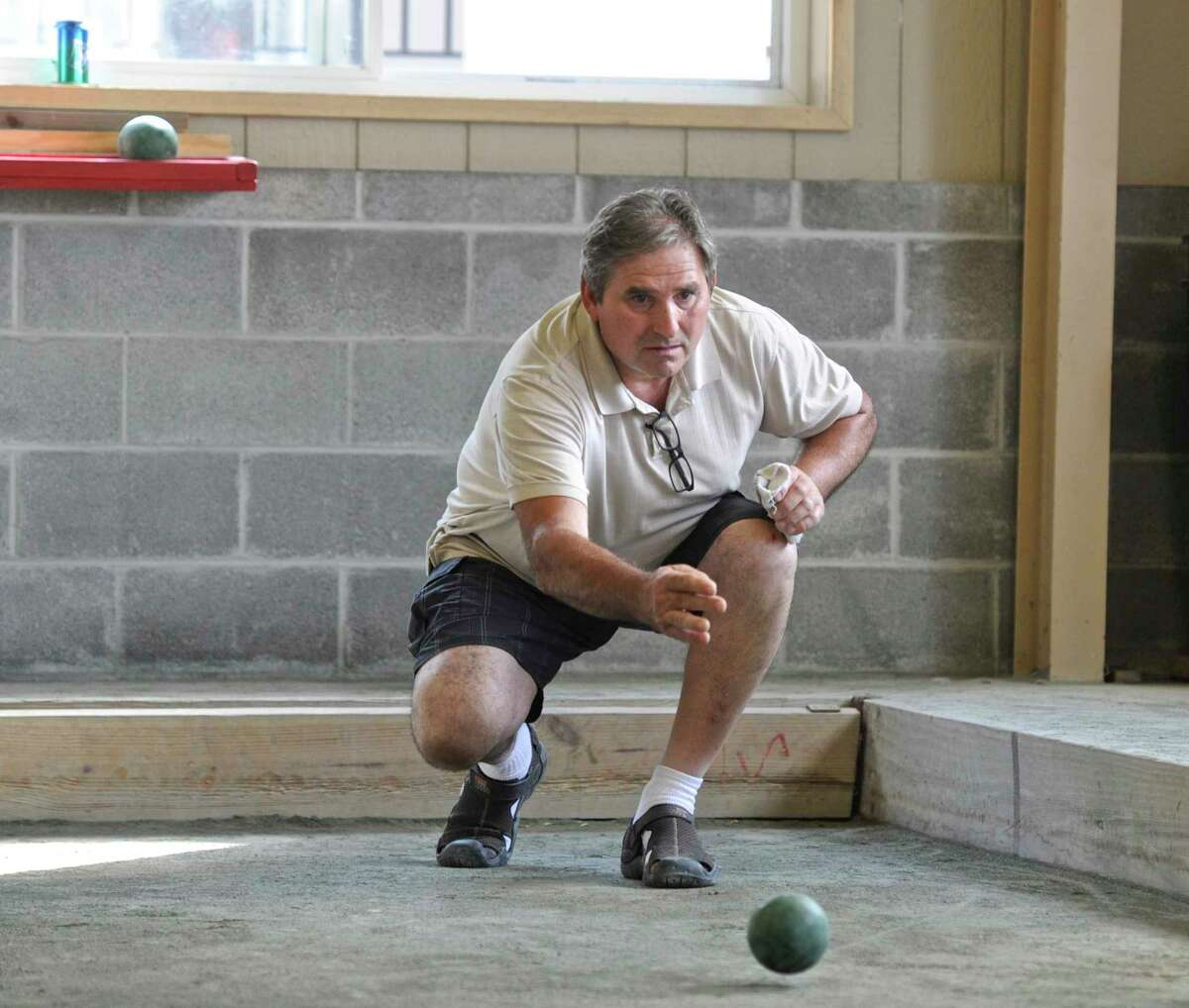 Pat Martoni, of East haven, rolls a ball during the bocci tournament at the annual Italian Festival at the Amerigo Vespucci Lodge on Christopher Columbus Avenue on Saturday, August 5, 2017, in Danbury, Conn. The festival continues on Sunday from 1 to 9 p.m.