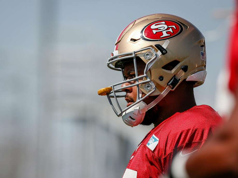 Sa Fransisco 49ers offensive lineman Joshua Garnett (65) warms up before practice on the practice field in Levis Stadium in Santa Clara on Wednesday, August 2, 2017. Photo: Nicole Boliaux, The Chronicle