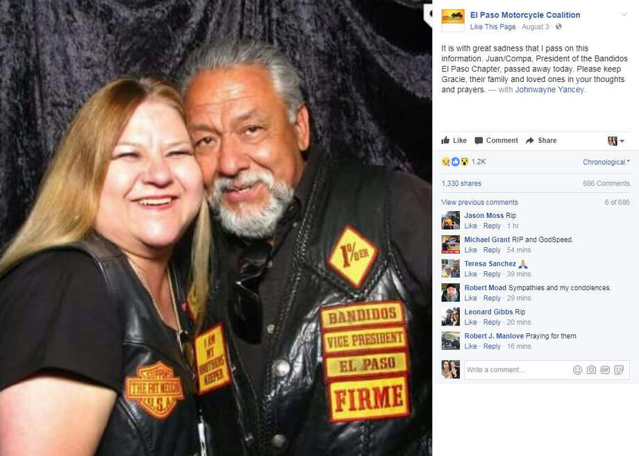 Juan Martinez, the 61-year-old leader of the El Paso chapter of the Bandidos biker club, died after he was shot during a bar fight with a rival club. >>Keep clicking to see 21 facts about the Bandidos Biker Club.Photo: El Paso Motorcycle Coalition Facebook