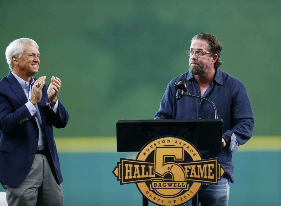 PHOTOS: A look at the pregame ceremony honoring Hall of Famer Jeff BagwellJeff Bagwell speaks during a ceremony to honor his recent induction into the National Baseball Hall of Fame before the start of an MLB game at Minute Maid Park, Saturday, Aug. 5, 2017, in Houston.Browse through the photos for a look at the pregame ceremony honoring Jeff Bagwell. Photo: Karen Warren, Houston Chronicle / @ 2017 Houston Chronicle