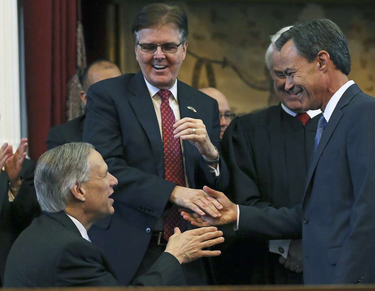 Joe Straus accepts congratulations from Governor elect Greg Abbott and Lt. Governor elect Dan Patrick after being sworn in as Speaker of the House during the opening of the 2015 Legislature at the State Capitol on January 13, 2015. Straus announced Wednesday, Oct. 25, 2017, that he would not seek re-election.