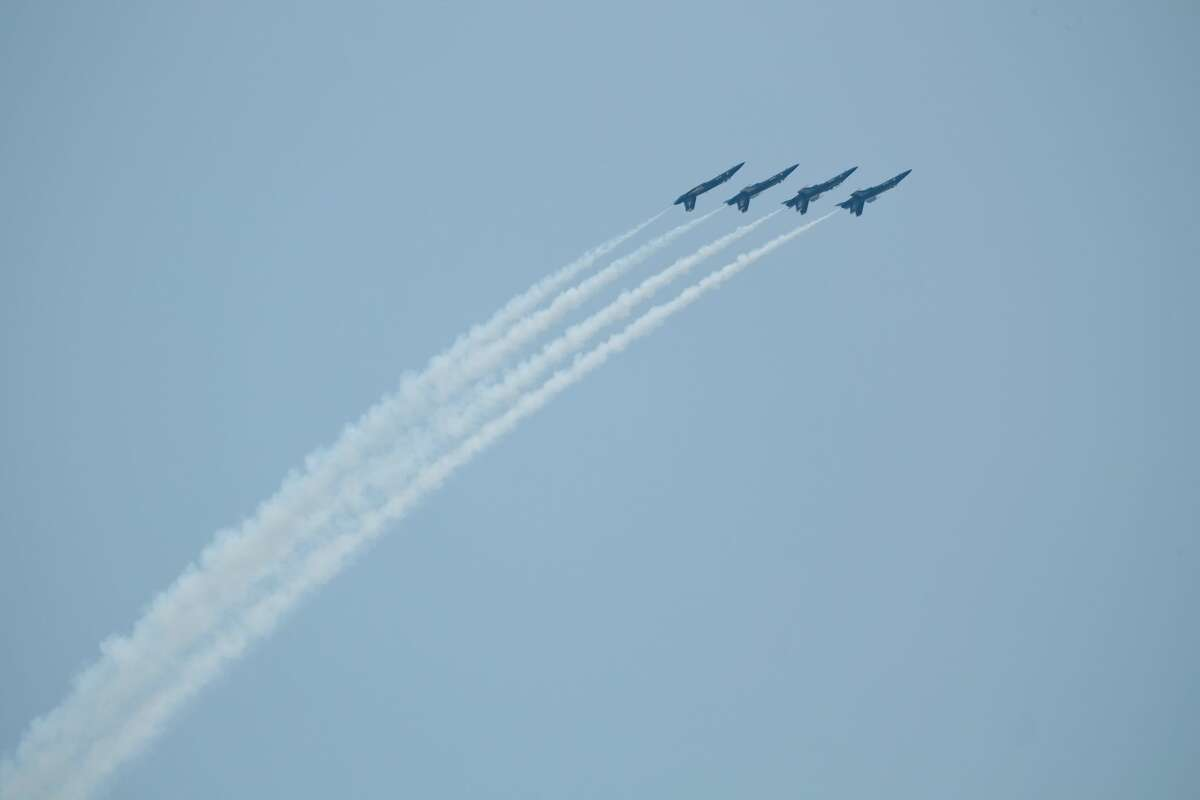 The U.S. Navy Blue Angels fly during the Boeing Seafair Air Show at Seafair, August 5, 2017.