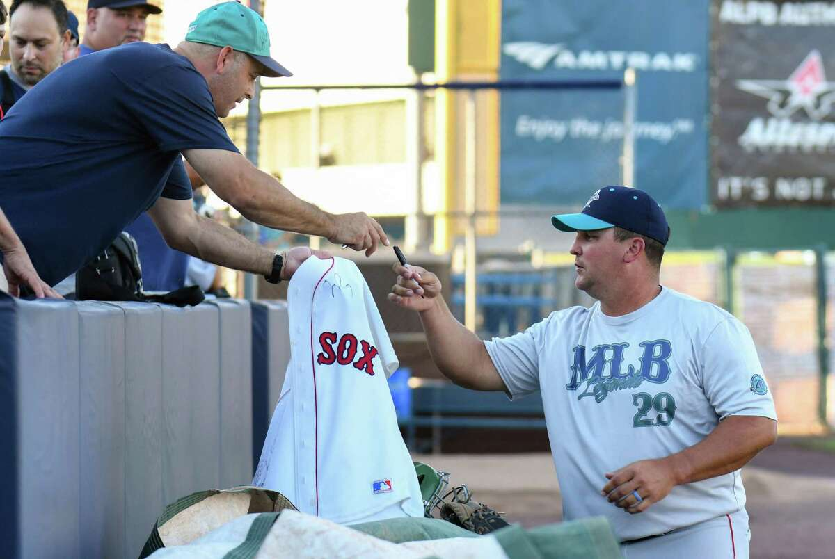 Former Red Sox Pitcher Keith Foulke signs autographs prior to the start of the Bridgeport Bluefish 20th Anniversary Legends Game at the Ballpark at Harbor Yard on August 5, 2017 in Bridgeport, Connecticut.