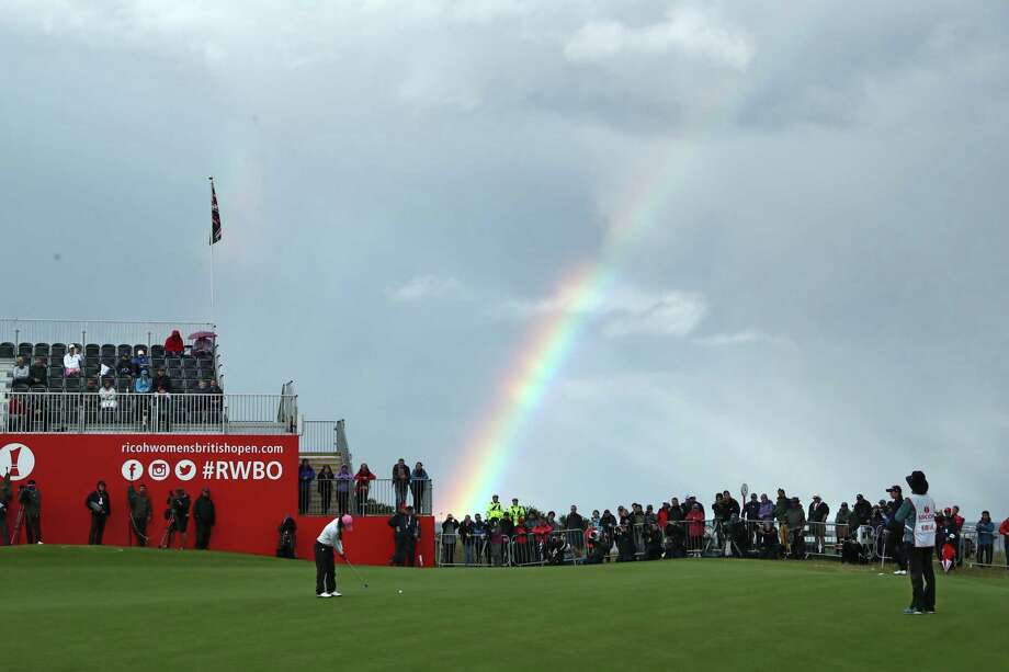 I.K. Kim finds a rainbow and a 6-under-par 66 at the end of her round at the Women's British Open in St. Andrews, Scotland. She has a six-shot lead. Photo: David Cannon, Staff / 2017 Getty Images