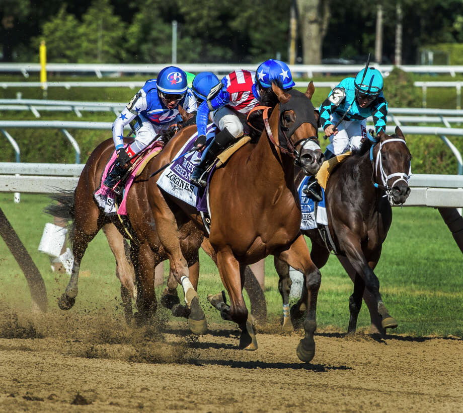 American Gal, with jockey Jose Ortiz, wins the 92nd running of the Test Stakes at Saratoga Race Course on Saturday Aug. 5, 2017 in Saratoga Springs, N.Y.  (Skip Dickstein/Times Union) Photo: SKIP DICKSTEIN