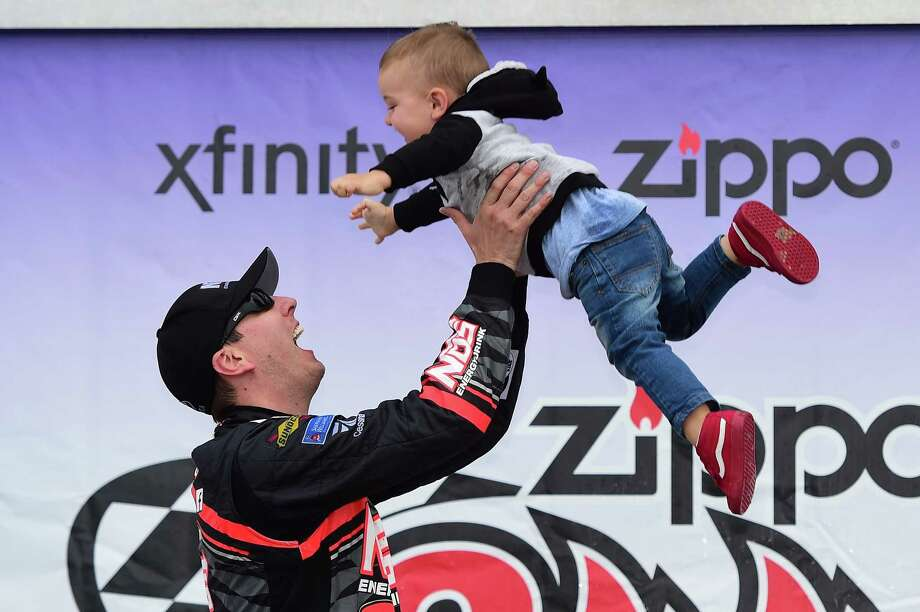 Kyle Busch celebrates in victory lane with his son, Brexton, after winning the Xfinity Series race Saturday at Watkins Glen International. Photo: Jared C. Tilton, Stringer / 2017 Getty Images