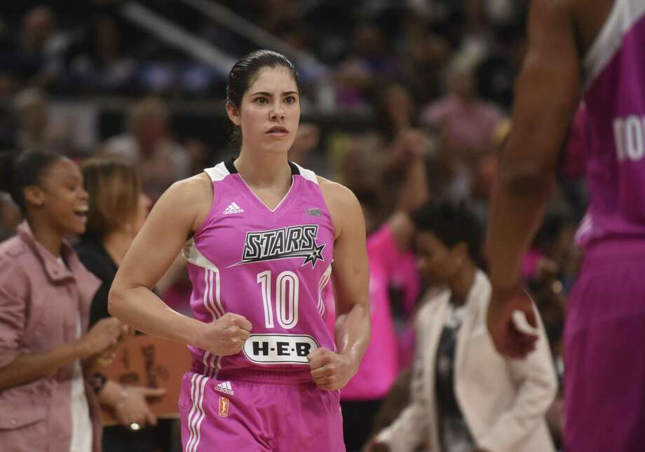 Kelsey Plum of the San Antonio Stars looks determined during overtime of WNBA action against the Seattle Storm at the AT&T Center on Saturday, Aug. 5, 2017. Photo: Billy Calzada, Staff / San Antonio Express-News / San Antonio Express-News