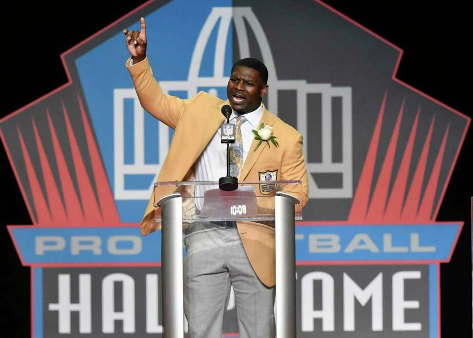 LaDainian Tomlinson delivers his speech at the Pro Football Hall of Fame inductions Saturday, Aug. 5, 2017, in Canton, Ohio. (AP Photo/David Richard) Photo: David Richard, Associated Press / FR25496 AP