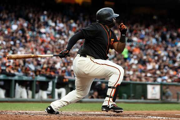 SAN FRANCISCO, CA - AUGUST 05: Pablo Sandoval #48 of the San Francisco Giants at bat against the Arizona Diamondbacks during the second inning at AT&T Park on August 5, 2017 in San Francisco, California.  (Photo by Jason O. Watson/Getty Images)