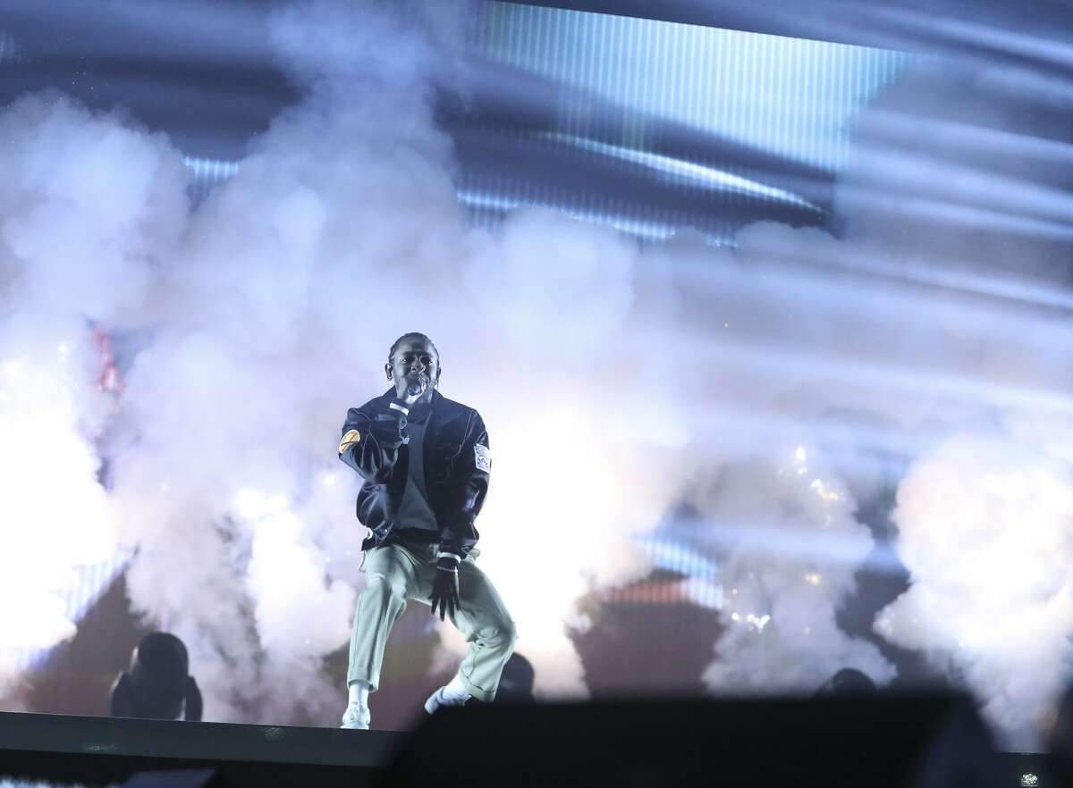 Kendrick Lamar performs at the Gila River Arena in Phoenix on July 1 during his tour to support his new album.
