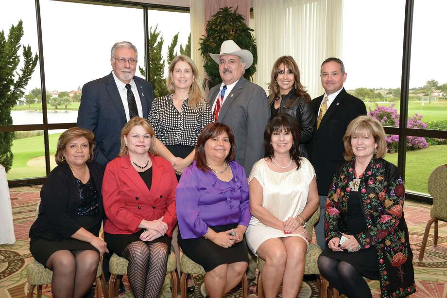 (top) Joe Rodriguez, Lizbeth Uribe, Onyx Benavides, Zoraida Jackson, Mercurio Martinez, (bottom) Esmeralda Robles, Paula Pueblitz, Ana Maya, Sylvia Ramirez and Virginia Muller at the Laredo Country Club for the Laredo Association of Realtors 2013 Officers and Directors Installation Banquet, Thursday afternoon. Photo: Danny Zaragoza/Laredo Morning Times