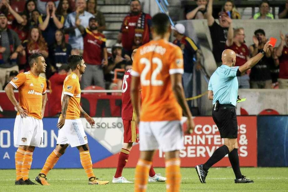 Houston Dynamo midfielder Alex (14) is issued a red card during the team's MLS soccer match against Real Salt Lake in Sandy, Utah, Saturday, Aug. 5, 2017. (Spenser Heaps/The Deseret News via AP) Photo: Spenser Heaps, Associated Press / The Deseret News