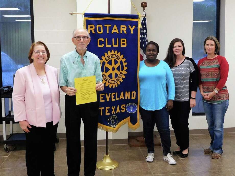 "Members of the Cleveland Rotary learned about ""My Own Book"", a literacy project started by Julie Croley Payne of Cleveland, now a retired CPA in Kingwood.  Mrs. Payne's goal is to give a new or gently used book to every first grader at Southside Primary.  This project not only gives pride of ownership but also encourages an interest in education and attaining a successful future.  Cleveland Rotary will participate in this project and explore available matching grant opportunities.  Anyone interested in participating should contact Julie Croley Payne at 7276payne@gmail.com or Southside Principal Janie Snyder at jshyder@clevelandisd.org.  Pictured (left to right} are  Julie Croley Payne, Rotarians Tommie Daniel, Eisha Jones, Tasha Childress and Amanda Brooks. Photo: Submitted"