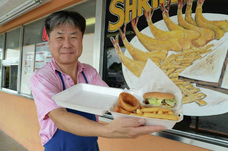 At Star Burger and Shrimp Galley,  the 'Star burger' is dressed up with lettuce, mustard, mayonnaise,  tomato, bacon and jalapeno (and cheese if you want) on a toasted bun.