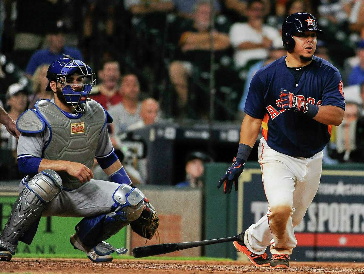 Houston Astros' Juan Centeno hits a winning single during the ninth inning of a baseball game against the Toronto Blue Jays, Sunday, Aug. 6, 2017, in Houston. (AP Photo/Eric Christian Smith)