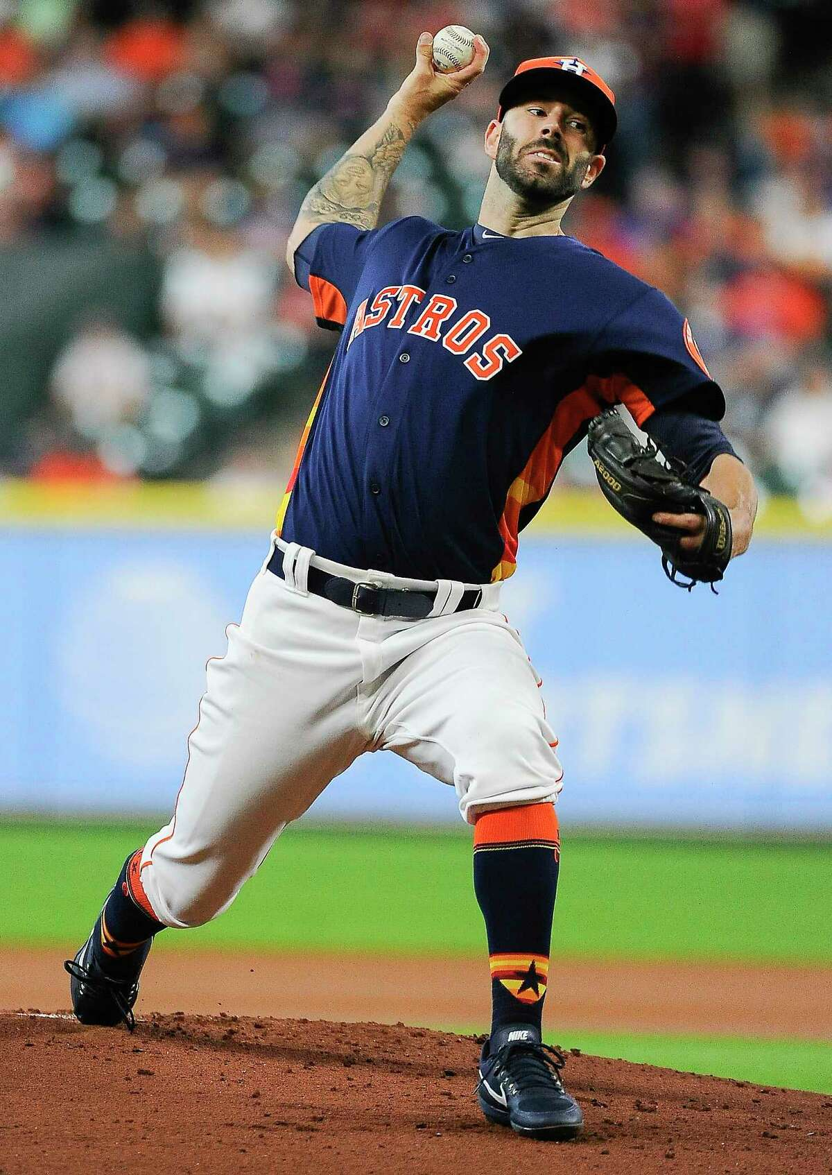 Houston Astros starting pitcher Mike Fiers delivers during the first inning of a baseball game against the Toronto Blue Jays, Sunday, Aug. 6, 2017, in Houston. (AP Photo/Eric Christian Smith)