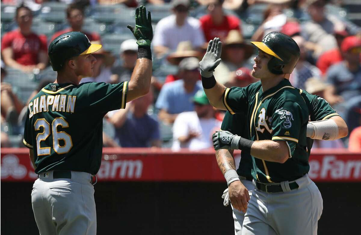 ANAHEIM, CA - AUGUST 06: Mark Canha #20 of the Oakland Athletics celebrates near homeplate with teammate Matt Chapman #26 after Canha hit a three-run homerun in the fourth inning during the MLB game against the Los Angeles Angels of Anaheim at Angel Stadium of Anaheim on August 6, 2017 in Anaheim, California. (Photo by Victor Decolongon/Getty Images)