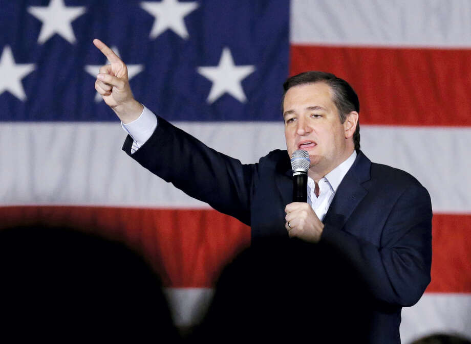 Then-Republican presidential candidate, Sen. Ted Cruz, R-Texas, points as he speaks at a campaign stop at Waukesha County Exposition Center in Waukesha, Wisconsin. Photo: Nam Y. Huh / Associated Press / AP