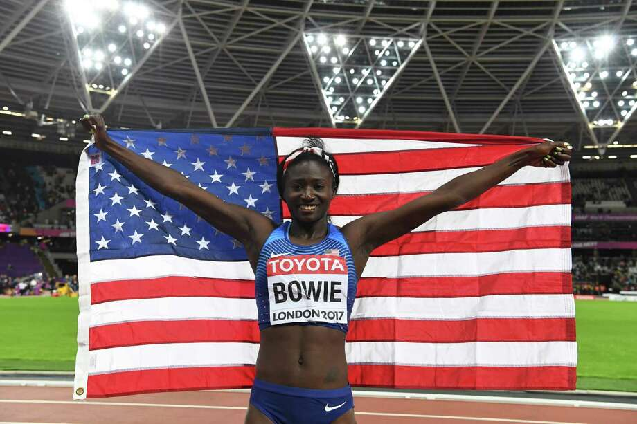 US athlete Tori Bowie celebrates taking gold in the final of the women's 100m athletics event at the 2017 IAAF World Championships at the London Stadium in London on August 6, 2017.  / AFP PHOTO / Kirill KUDRYAVTSEVKIRILL KUDRYAVTSEV/AFP/Getty Images Photo: KIRILL KUDRYAVTSEV, Contributor / AFP or licensors