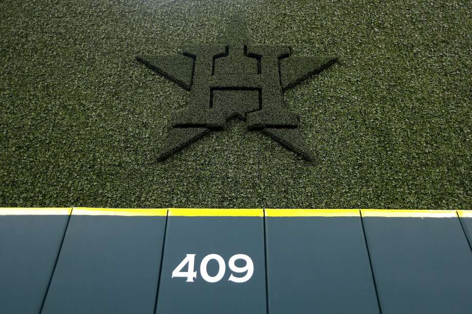 The batter's eye with the Houston Astros logo and the 409 marker on the center field fence during the tour of the new center field at Minute Maid Park,  Wednesday, March 29, 2017, in Houston. ( Karen Warren / Houston Chronicle ) Photo: Karen Warren/Houston Chronicle