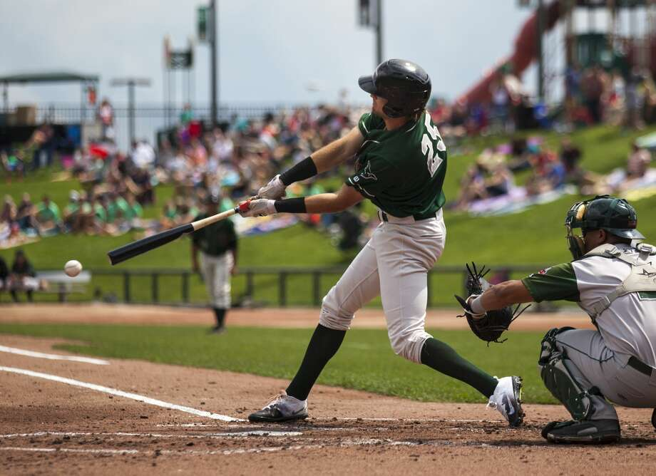 The Loons' Cody Thomas hits during the Great Lakes Loons vs. the Fort Wayne TinCaps game at Dow Diamond on Sunday, August 6, 2017. Photo: (Josie Norris/for The Daily News)