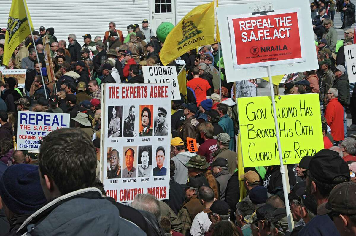 Second Amendment advocates rally against the NY SAFE Act at the Empire State Plaza Tuesday, April 1, 2014 in Albany, N.Y. (Lori Van Buren / Times Union)