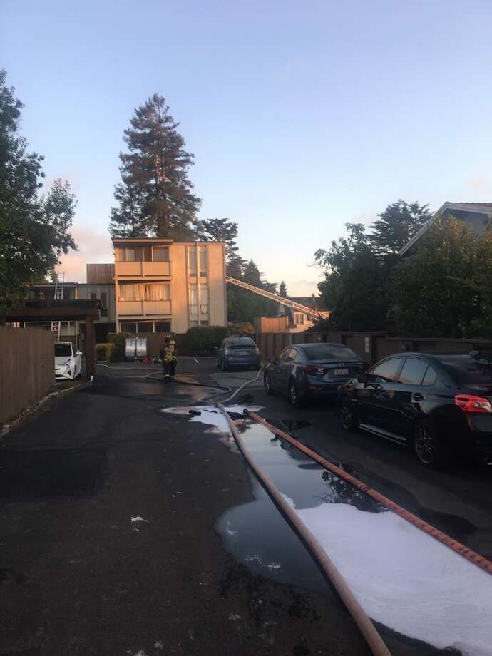 A fire that broke out in a Berkeley apartment building Sunday night displaced at least 40 people. Photo: Courtesy Berkeley Fire Department