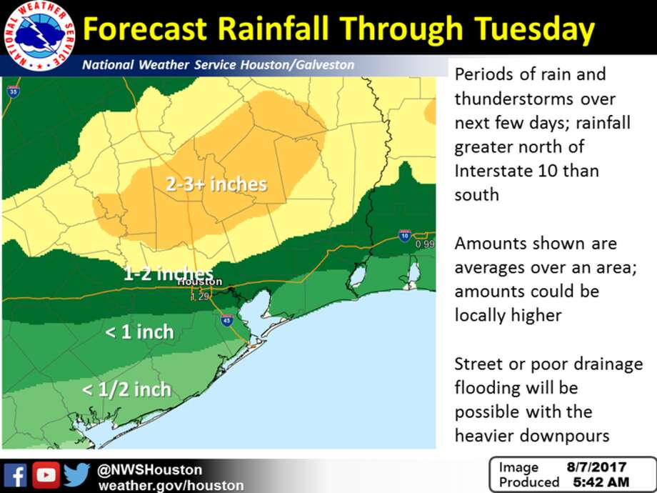 This graphic shows forecast average rainfall for Monday through Tuesday. Local amounts could be higher. Localized street and poor drainage flooding possible with heaviest downpours. Photo: File/National Weather Service