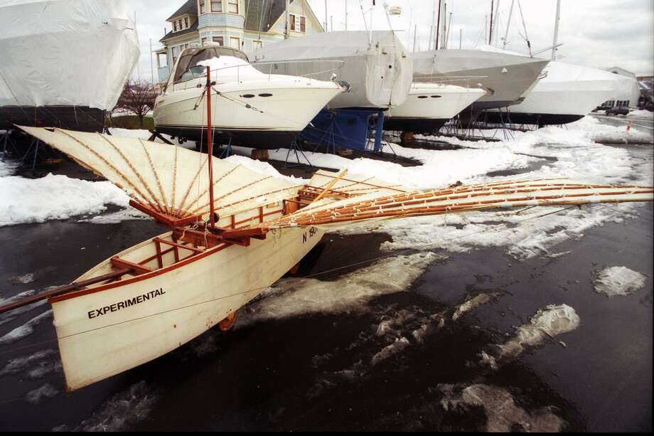 The full size replica of Gustave Whitehead's airplane sits in the snow covered parking lot of Captain's Cove Seaport in Bridgeport. The craft will be on display on Saturday, August 12, 2017, at the Fairfield Museum and History Center, 370 Beach Road, from 10 a.m. to 2 p.m., to celebrate the anniversary of Gustave Whitehead's historic 1901 Flight in Fairfield. Photo: File Photo /Ned Gerard / File Photo / Connecticut Post file photo