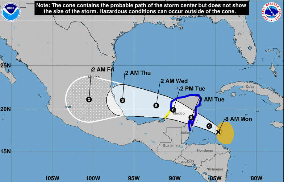 Tropical Storm Franklin could be near hurricane strength when it hits Mexico's Yucatan peninsula Monday evening. This is the National Hurricane Center's current tracking for the storm as of Monday morning at 7 a.m. Houston time.Click through for a collection of hurricane survival tips and tricks... Photo: National Hurricane Center