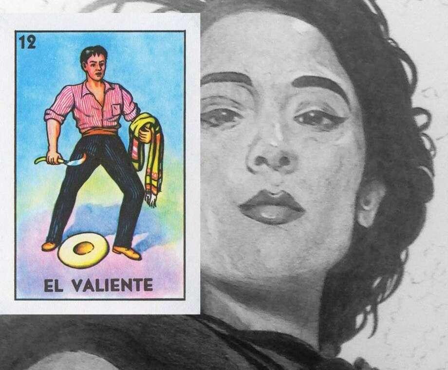 "A closeup of ""La Valiente"" (""The Brave"") by San Antonio native and Hugo Award-winning artist, John Picacio. The black and white art is based on the original ""El Valiente"" art (inset) from the classic Mexican bingo game, lotería. Photo: Courtesy John Picacio"
