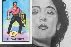 """A closeup of """"La Valiente"""" (""""The Brave"""") by San Antonio native and Hugo Award-winning artist, John Picacio. The black and white art is based on the original """"El Valiente"""" art (inset) from the classic Mexican bingo game, lotería."""