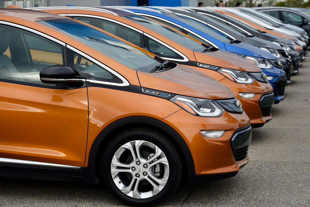 Brand new Chevy Bolt EV's are seen at Fremont Chevrolet in Fremont, CA, on Tuesday, December 13, 2016.