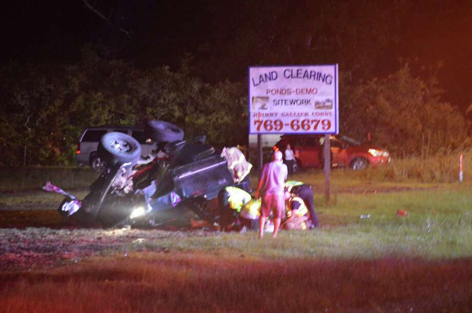 Vidor emergency officials respond to a rollover accident at Highway 12 and Evangeline Lane Sunday evening. Photo provided by Eric Williams