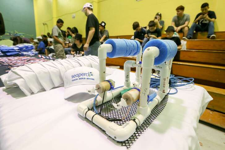 An underwater robot on display during the SeaPerch Regional SeaPerch Challenge Camp Scrimmage at the Eastside Boys & Girls Club on Thursday, July, 27, 2017. Twelve teams ran underwater robots they built through obstacle and challenge courses in preparation for the upcoming Regional competition.   MARVIN PFEIFFER/ mpfeiffer@express-news.net