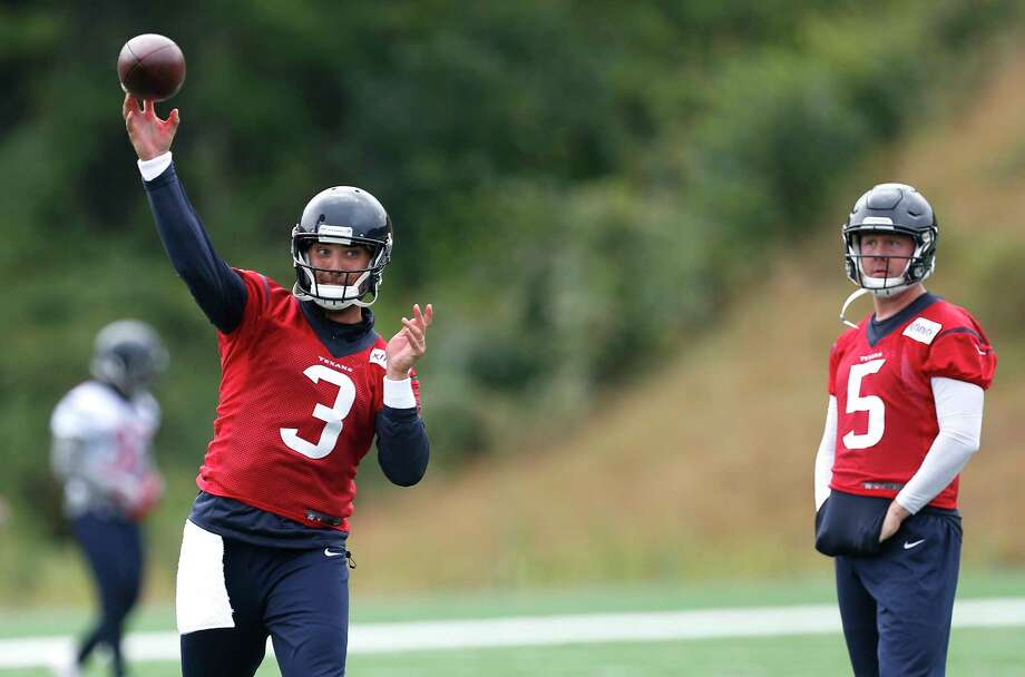 Houston Texans quarterback Tom Savage (3) throws a pass during training camp at the Greenbrier on Monday, Aug. 7, 2017, in White Sulphur Springs, W.Va. Photo: Brett Coomer, Houston Chronicle / © 2017 Houston Chronicle}