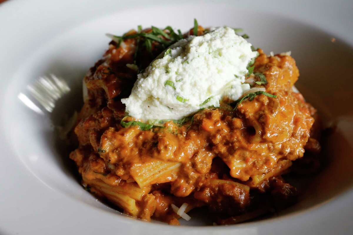 Rigatoni bolognese with herbed ricotta at Lowbrow Food & Drink, 1601 W. Main.