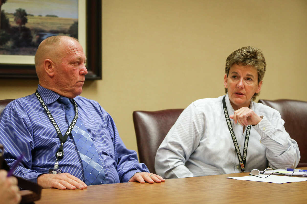 Montgomery County Sheriff's detectives Donna Rippley, right, and Keith Echols, left, speak about the investigation behind four arrests in the double homicide on July 20 in Tamina during an interview on Monday, Aug. 7, 2017, at the Montgomery County Sheriff's Office.