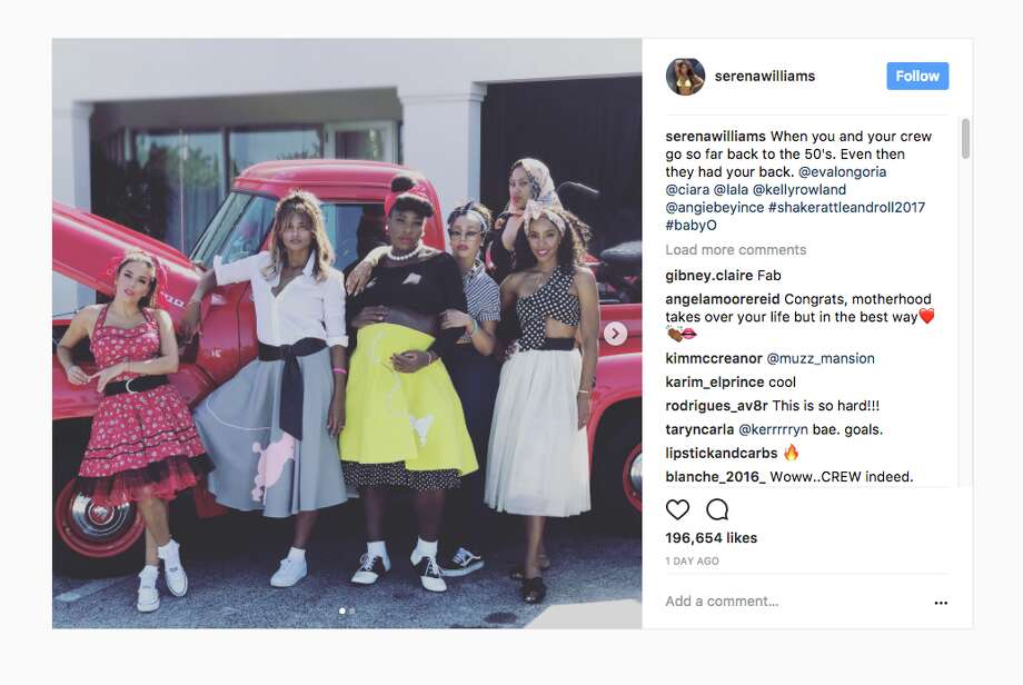 Serena Williams hosted a 1950s-inspired baby shower with Eva Longoria, Ciara, Lala Anthony, Angie Beyince and Kelly Rowland. Photo: Via Serena Williams On Instagram