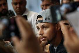 Stephen Curry listens to a question from a reporter at the SC30 Select Camp for high school basketball players in Walnut Creek, Calif., on Monday, August 7, 2017. Curry spoke about off-season news, his new contract with the Warriors and other topics at the camp.