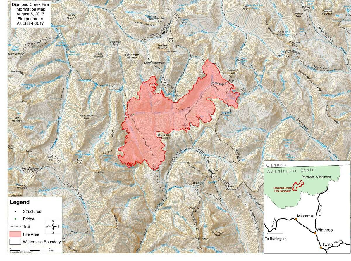 This map shows the area currently covered by the Diamond Creek Fire in red.