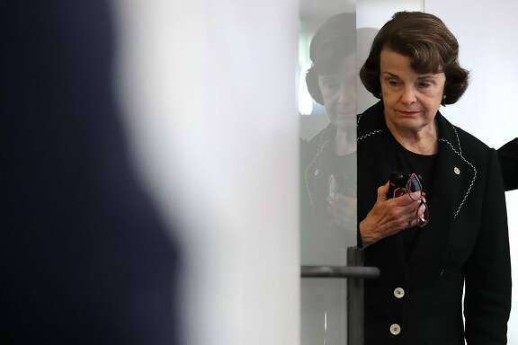 WASHINGTON, DC - JULY 13:  Senate Intelligence Committee member Sen. Dianne Feinstein (D-CA) arrives for a closed-door committee meeting in the Hart Senate Office Building on Capitol Hill July 13, 2017 in Washington, DC. Earlier in the week, Feinstein said that Donald Trump, Jr. should testify before the intelligence committee after it was revealed that he and Jared Kushner and Paul Manafort met with a Russian lawyer in hopes of getting opposition information on Hillary Clinton during the 2016 election.  (Photo by Chip Somodevilla/Getty Images)