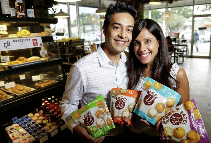 Bagel Dots, owned by Purav Patel, left, and Aarti Garehgrat, are now in H-E-B stores and at Dandelion Cafe in Bellaire.