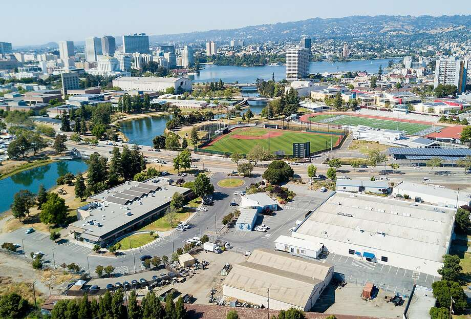 Buildings line the Peralta Community College District offices, one of the sites under consideration for a new Oakland Athletics stadium, on Sunday, May 28, 2017, in Oakland, Calif. Photo: Noah Berger, Special To The Chronicle