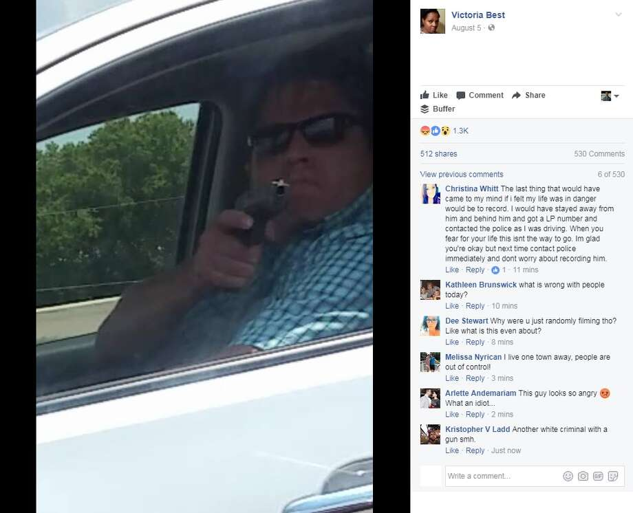 Victoria Best said on Facebook that a man pulled a gun on her while she was driving on Interstate 35 East on Aug. 4, 2017 in Lancaster, just south of Dallas.Image source: Facebook Photo: Victoria Best Via Facebook