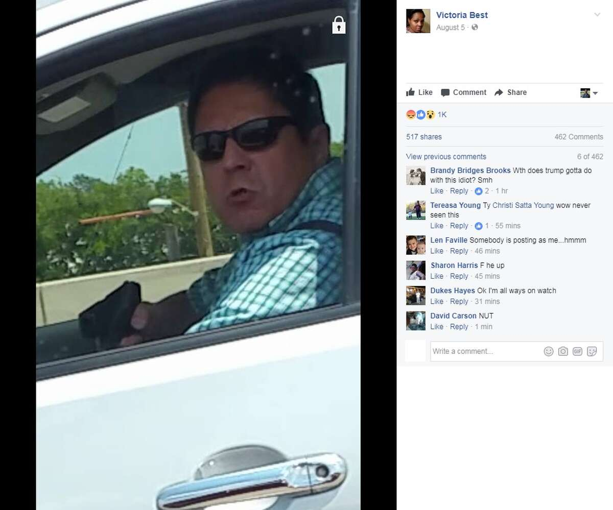 Victoria Best said on Facebook that a man pulled a gun on her while she was driving on Interstate 35 East on Aug. 4, 2017 in Lancaster, just south of Dallas. Image source: Facebook