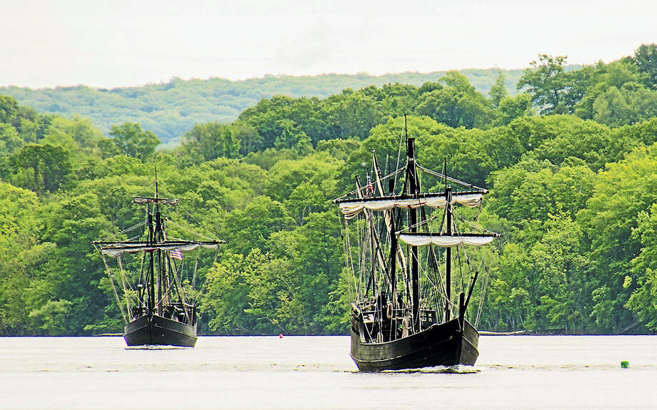 The Columbus Foundation's Nina and Pinta sailed through Middletown at Harborpark late morning Wednesday. The Nina was built by hand with manual tools and the Pinta was launched in Brazil. They made their way slowly up the Connecticut River to Mortensen Riverfront Plaza in Hartford. Photo: Rich Sylvester Photo