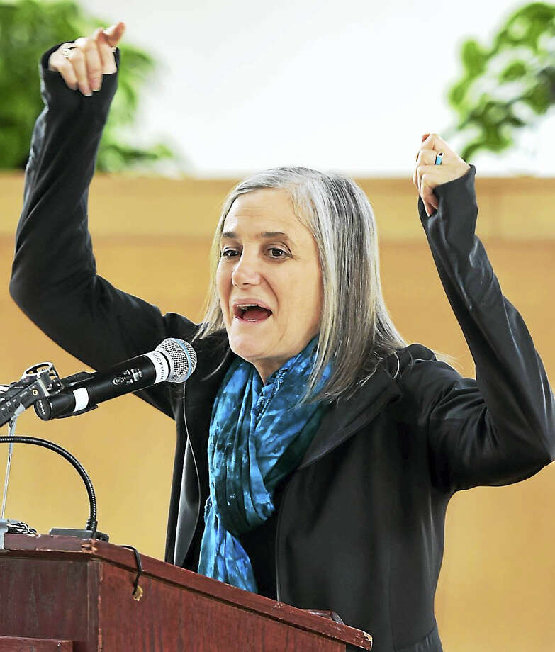 (Peter Hvizdak - New Haven Register)Journalist Amy Goodman, host of Democracy Now!, speaks Monday, April 24, 2017 at WesleyanUniversity. Photo: ©2017 Peter Hvizdak / ©2017 Peter Hvizdak